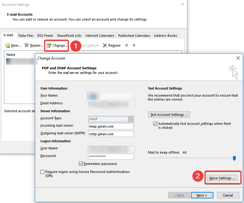 outlook account settings change