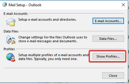 outlook show profiles