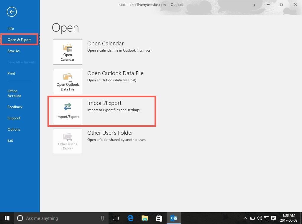 Open & Export menu
