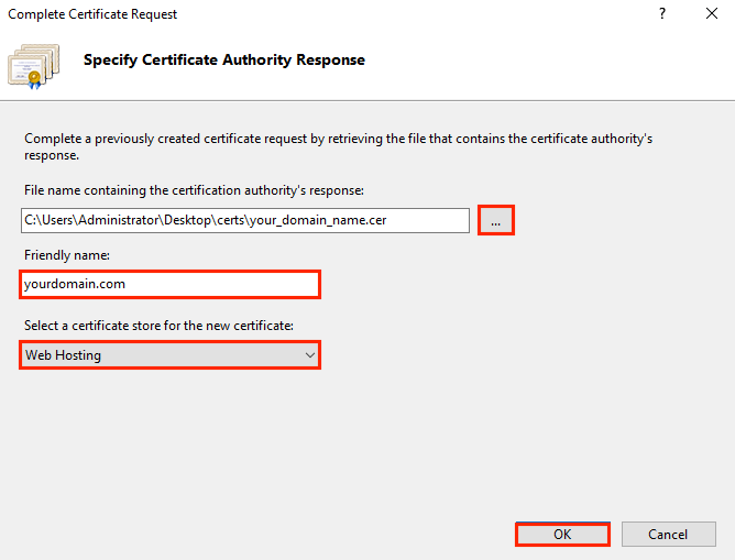 IIS 10 Install SSL Certificate
