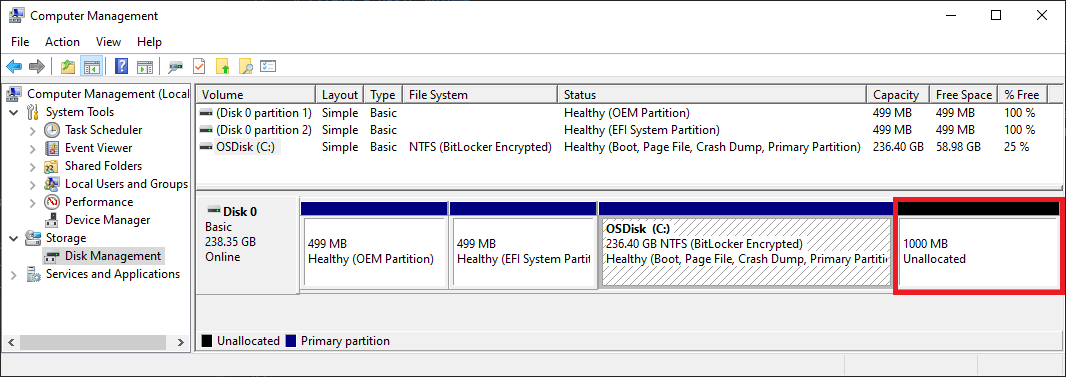 Disk Management showing free space that a volume can extend into.